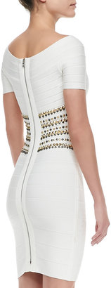 Herve Leger Stud-Bodice Bandage Dress
