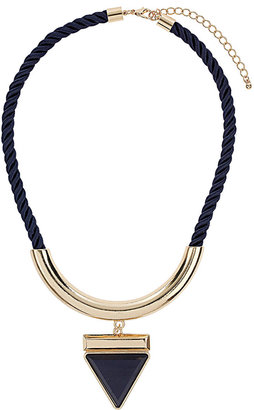 Wallis Navy Triangle Pendant Necklace
