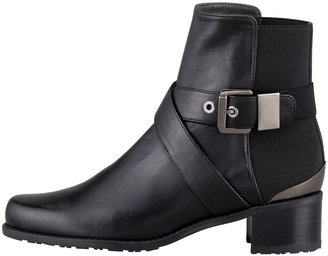 Stuart Weitzman Manlow Stretch-Back Buckled Ankle Bootie