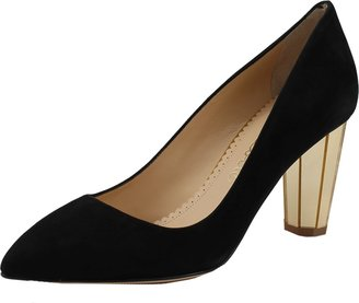 Charlotte Olympia Liz Suede Pump with Gold Panel Heel