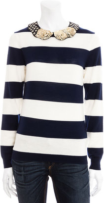 Gryphon Rugby Stripe Sweater With Embellished Collar