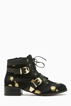 Nasty Gal Matiko Julian Ponyhair Boot - Gold