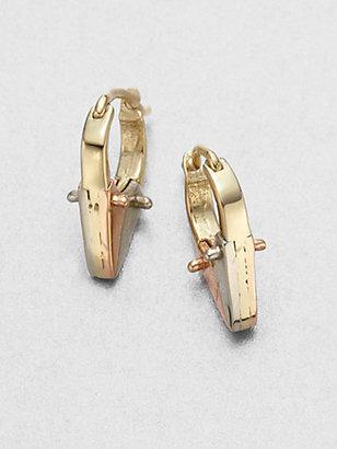"""A.L.C. Tricolor Pointed Huggie Hoop Earrings/.75"""""""