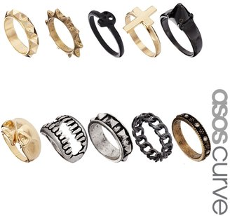 Asos Skull Fangs Mega Ring Pack - Multi
