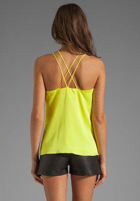 Milly Matte Stretch Silk V Doublestrap Top