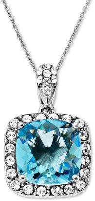 Swarovski Kaleidoscope Sterling Silver Necklace, Blue Crystal Pendant with Elements