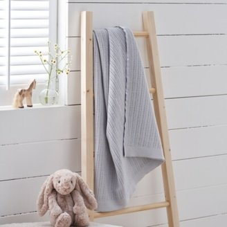 The White Company Satin Edged Cellular Baby Blanket. One Size. Grey