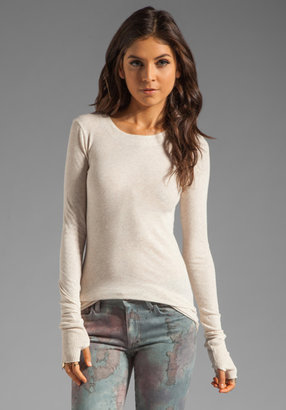 Enza Costa Cashmere Blend Cuffed Crew Neck