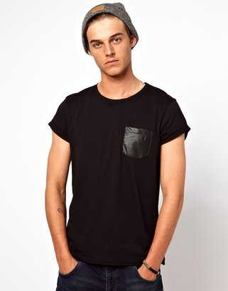 Asos T-Shirt With Perforated Leather Look Pocket