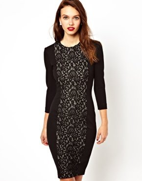 French Connection Midi Dress With Contrast Lace Pannel