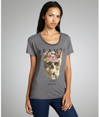 Second Sunday heather grey cotton blend 'Beaute' skull graphic t-shirt