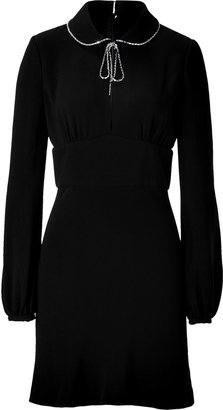 Azzaro Black Crystal Neck Dress