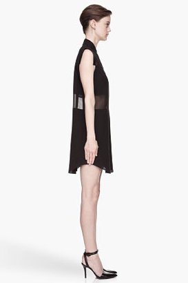 Alexander Wang Black sheer paneled Silk Chiffon Shirtdress