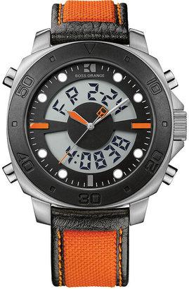 HUGO BOSS Watch, Men's Analog Digital Orange and Black Fabric Strap 49mm 1512679
