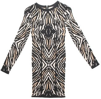 Torn By Ronny Kobo Emma Zebra Jacquard Long Sleeve Dress -