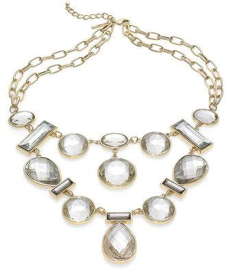 INC International Concepts 14k Gold-Plated Black Diamond Cabochon Bib Necklace