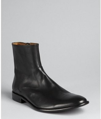 John Varvatos black leather zip ankle boots