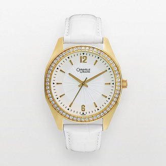 Swarovski Caravelle by bulova gold tone crystal leather watch - made with elements - 44l102 - women