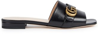 Gucci GG Marmont Black Leather Mules