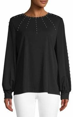 Karl Lagerfeld Paris Embellished Long-Sleeve Sweater