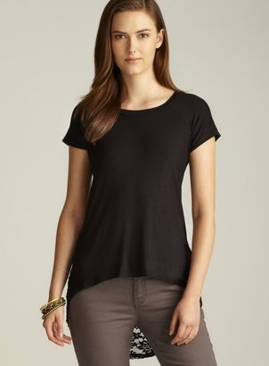 Annalee + Hope Back Lace Hi-Lo Short Sleeve Top