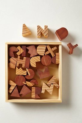 Anthropologie Alphabet Wood Block Set