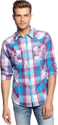 INC International Concepts Shirt, Long Sleeve Coven Plaid Slim Fit Shirt