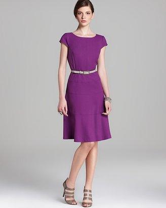 Anne Klein Belted Swing Dress - Cap Sleeve