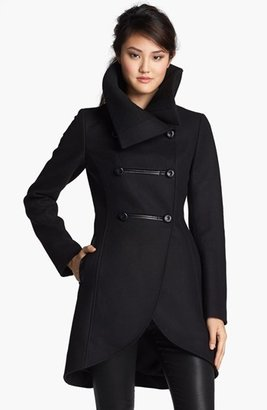 Mackage Leather Trim Double Breasted Coat