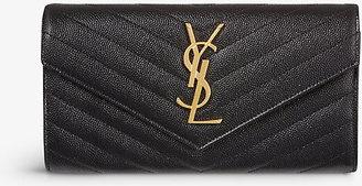 Saint Laurent Women's Black Quilted Monogrammed Leather Wallet