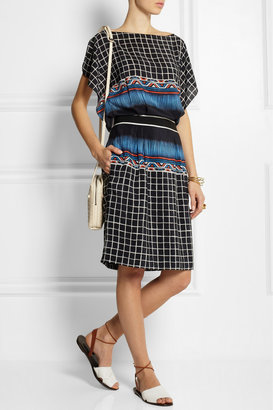 Alberta Ferretti Printed silk and crepe de chine dress