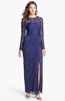 Adrianna Papell Illusion Sleeve Draped Mesh Gown