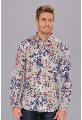 Perry Ellis Slim Fit Foliage Print Cut Away Collar L/S Shirt (Ultramarine) - Apparel