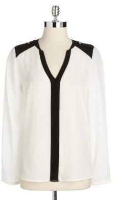 Vince Camuto Two-Tone Epaulet Top