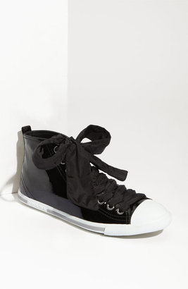 Prada Puff Lace Patent Leather High Top Sneaker