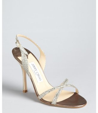 Jimmy Choo silver glittered crisscross strapped slingback 'Ingrid' sandals