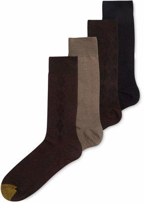 Gold Toe Men Socks, Microfiber Assorted Textures Dress Crew 4-Pack