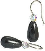 Blomdahl Natural Titanium Pearl Drop Earrings black/rainbow