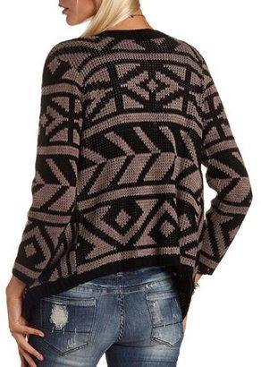 Charlotte Russe Aztec Print Knit Cardigan