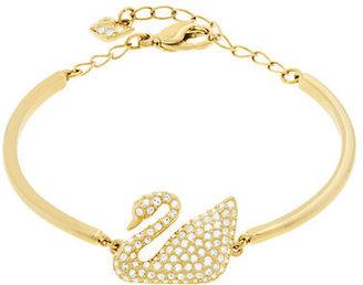 Swarovski Gold Tone and Crystal Swan Bangle Bracelet