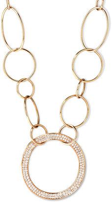 Ippolita Stardust 18k Gold Pave Diamond Hollow-Pendant Chain Necklace