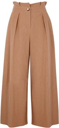 Palones Brown Wide-leg Cotton-blend Trousers