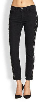 Current/Elliott Stiletto Studded Cropped Skinny Jeans