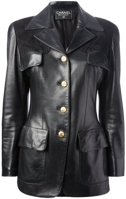 Chanel quilted panel leather jacket