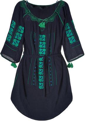 Vanessa Bruno Navy Embroidered Cotton Dress