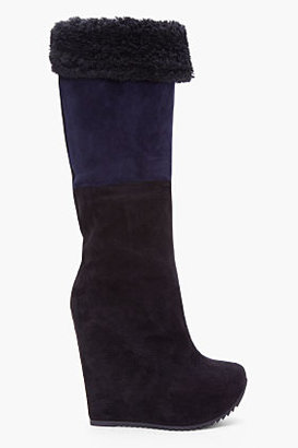 Yves Saint Laurent Black and Navy Ariane Wedge Boots