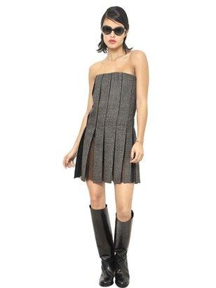 Marni Salt And Pepper Wool And Organza Dress