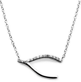 Lord & Taylor Silver Tone and Cubic Zirconia Wishbone Necklace