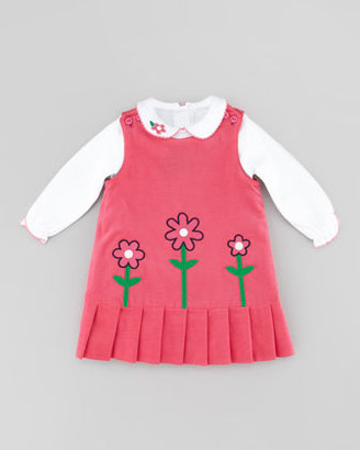 Florence Eiseman Reversible Corduroy Flower Jumper, Fuchsia/Navy, Sizes 4-6X