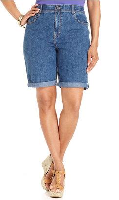Charter Club Plus Size Shorts, Denim Cuffed Bermuda, Antique Indigo Wash